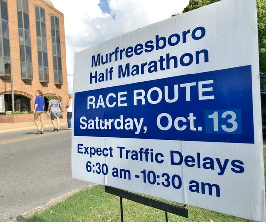 Signs like these are posted along the Murfreesboro Half Marathon Route to warn residents and motorists of traffic delays in their neighborhood.