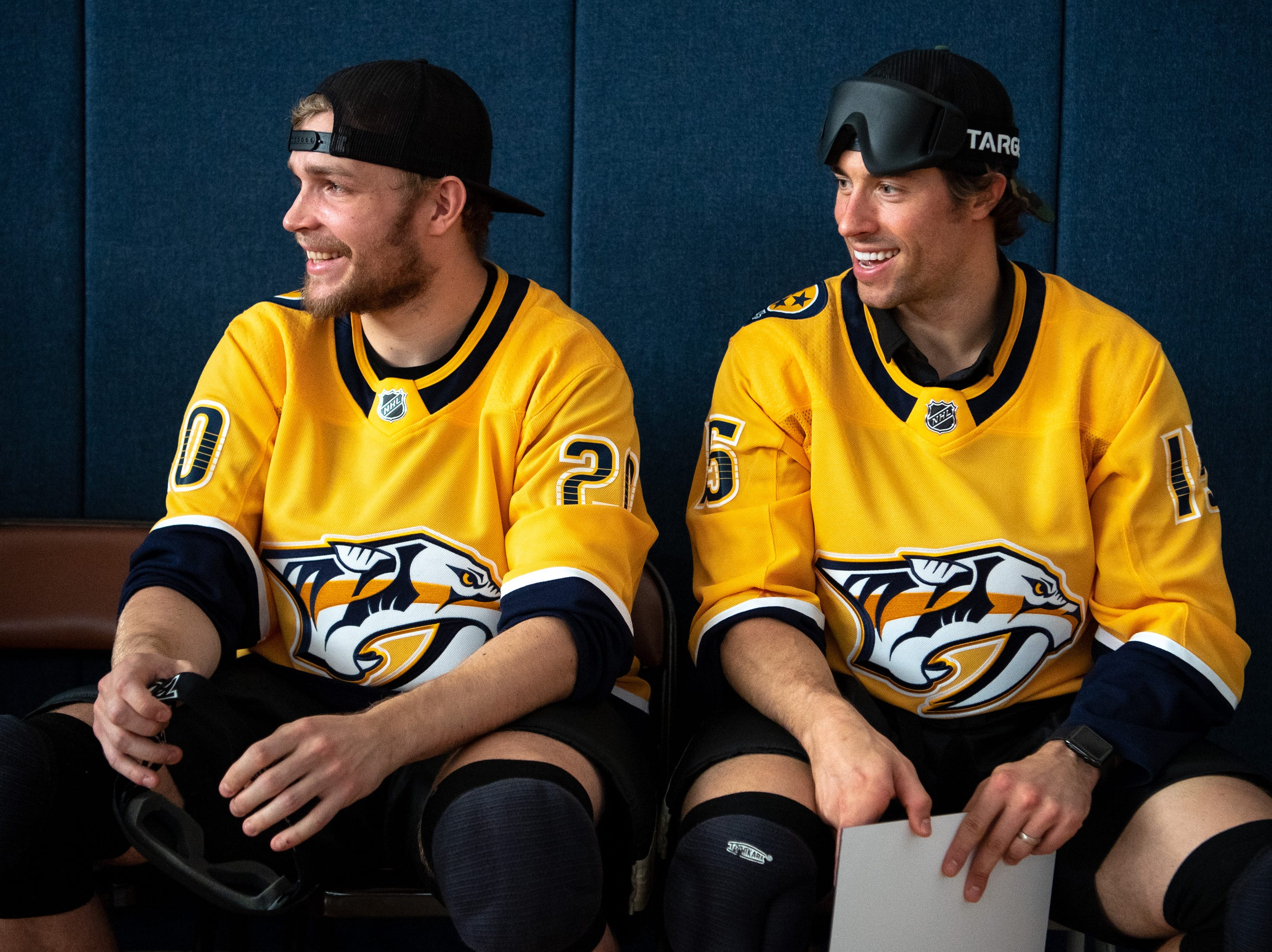 Nashville Predators forward Miikka Salomaki (20) and forward Craig Smith (15) watch a game of goalball at the Tennessee School for the Blind in Nashville, Tenn., Monday, Oct. 8, 2018. Goalball is a sport designed specifically for athletes with vision impairment.