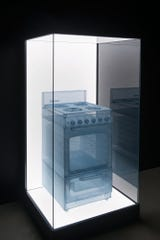 Do Ho Suh. Stove, Apartment A, 348 West 22nd Street, New York, NY 10011, USA, 2013. Polyester fabric, stainless steel wire, and display case with LEDs, 74 1/8 x 36 1/8 x 35 in. © Do Ho Suh.