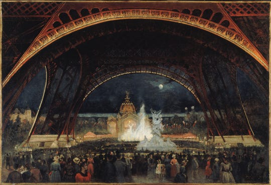 Alexandre-Georges Roux, known as George Roux (1855–1929). Nighttime festivities at the International Exposition of 1889, under the Eiffel Tower, 1889. Oil on canvas, 25 5/8 x 37 3/8 in. Musée Carnavalet.