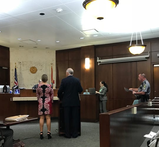 Marco Island's Purchasing and Risk Manager Lina Upham, far left, pleads no contest to a DUI first offense charge at the Collier County courthouse on Oct. 8, 2018.