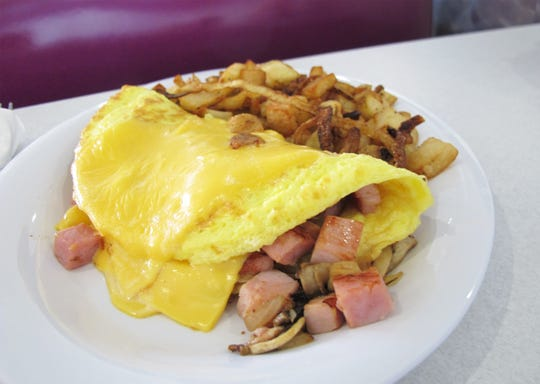 A ham and cheese omelet at LuLu B's Diner, which recently opened in Green Tree Center at Airport-Pulling and Immokalee roads in North Naples.