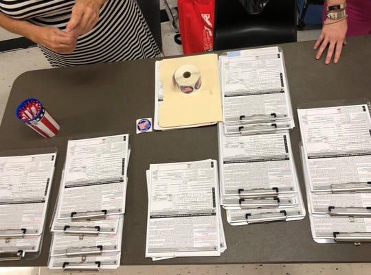 A table is covered with voter registration forms at Golden Gate High School on Monday, Oct. 8, 2018, for a high school voter registration challenge organized by the Collier Supervisor of Elections Office. Nearly 1,000 students registered to vote during the challenge at 11 high schools.