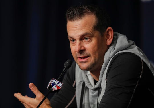 New York Yankees manager Aaron Boone answers questions during a news conference, Sunday, Oct. 7, 2018, in New York. The Yankees will play against the Boston Red Sox in Game 3 of the AL Division Series on Monday. (AP Photo/Julie Jacobson)