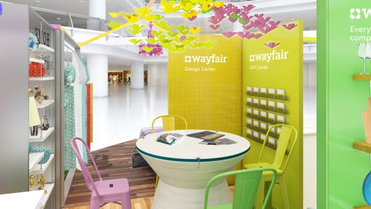 The Wayfair pop-up shop will have a design center where mall shoppers can get advice about online purchases.