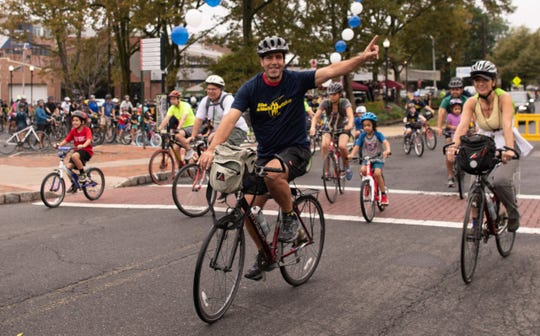 Angelo Gaccione at the starting arch for the 2018 Tour de Montclair. More than 500 riders registered for the annual fun ride, which took place on Oct. 7.