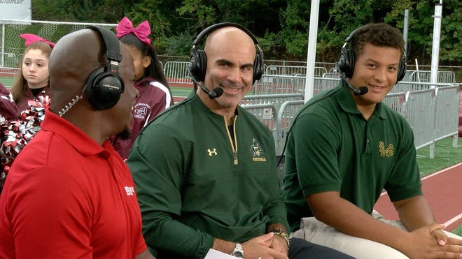 St. Joe's Coach Augie Hoffmann and senior defensive lineman enior Howard Cross are shown during the taping of the Red Zone Road Show shot at Don Bosco Prep Monday October 8, 2018.