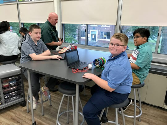 School 1 students at Monday's grand opening of their schools STEAM Lab