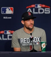 Boston Red Sox starting pitcher Nathan Eovaldi answers questions during a news conference, Sunday, Oct. 7, 2018, in New York. Eovaldi is scheduled to start Game 3 against the New York Yankees.