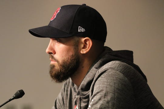Rick Porcello, of the Red Sox, listens to a question asked by a member of the media before pitching in Game 3 at Yankee Stadium. Monday, October 8, 2018