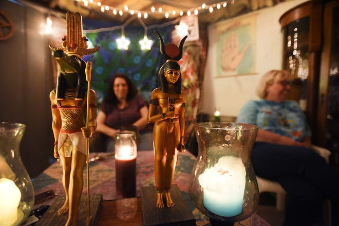 Close up of an altar as Coven member  Michelle Sauer of Belleville (R) is seen with Niki Somers (C), High Priestess at the Temple, in the basement of Colleen's home in Pequannock on 10/08/18. They are part of Bergen Wiccan and Pagan group.