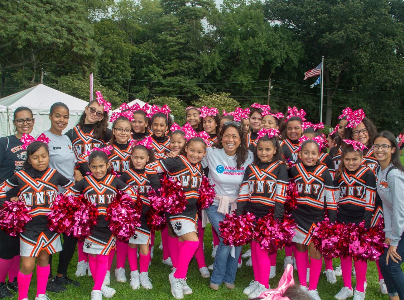 West New York Cheerleaders and Nina Pineda. Englewood Health Foundation hosted its 2018 Walk for Awareness and Susan Lucianna Memorial Dog Walk dedicated in memory of Walk for Awareness co-founder Paul Fader, Esq. 10/07/2018