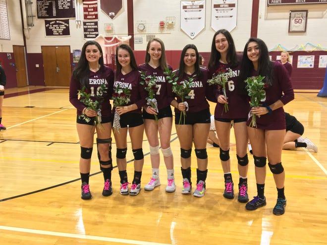 Verona's six seniors (left to right): Kate Ryan, Erin Kiernan, Brooke Cooney, Nicolette Marino, Hunter Coppola and Daniela Trujillo.