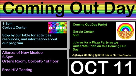 OUTober events begin Oct. 11 with activities and resources, free and confidential HIV testing and a coming out day pizza party.