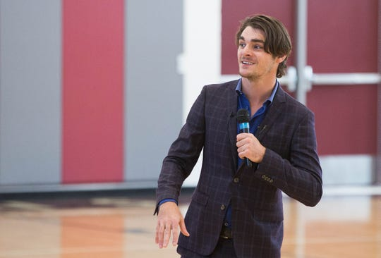 "RJ Mitte, an actor best known for his work on the TV show ""Breaking Bad,"" talks to students about bullying and having confidence in themselves at Sierra Middle School Monday Oct. 8, 2018 ."