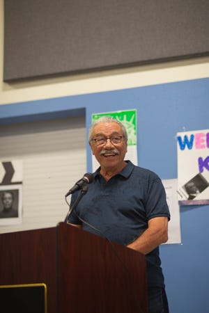 Edward James Olmos speaks at New America School-Las Cruces on Oct. 5, 2018.