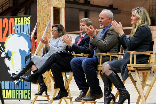 New Mexico Gov. Susana Martinez, from left, Albuquerque Mayor Tim Keller, Netflix vice president for physical production Ty Warren and Albuquerque film liaison Alicia Keyes headline a news conference at ABQ Studios in Albuquerque, N.M., on Monday, Oct. 8, 2018. Netflix has chosen Albuquerque as its new production hub and is in the process of buying the existing studio complex that includes several sound stages, offices and a back lot.