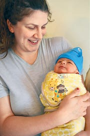 Stephanie Thomas with baby Alastair.