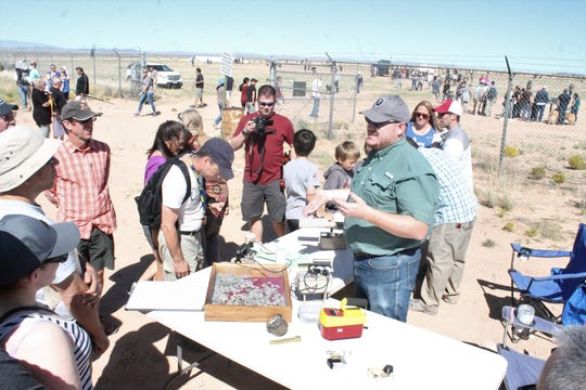 James Ray, with White Sands Missile Range's Radiation Protection Office, was on site to explain the difference between alpha, beta, and gamma radiation, and show off a host of radiation-detecting devices that visitors can use.