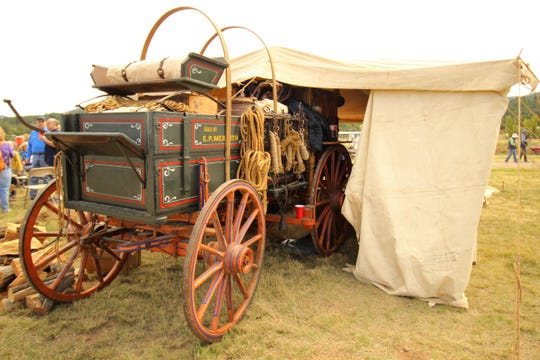 A chuck wagon is set up at the 2017 Lincoln County Cowboy Symposium to prepare for the cook-off.