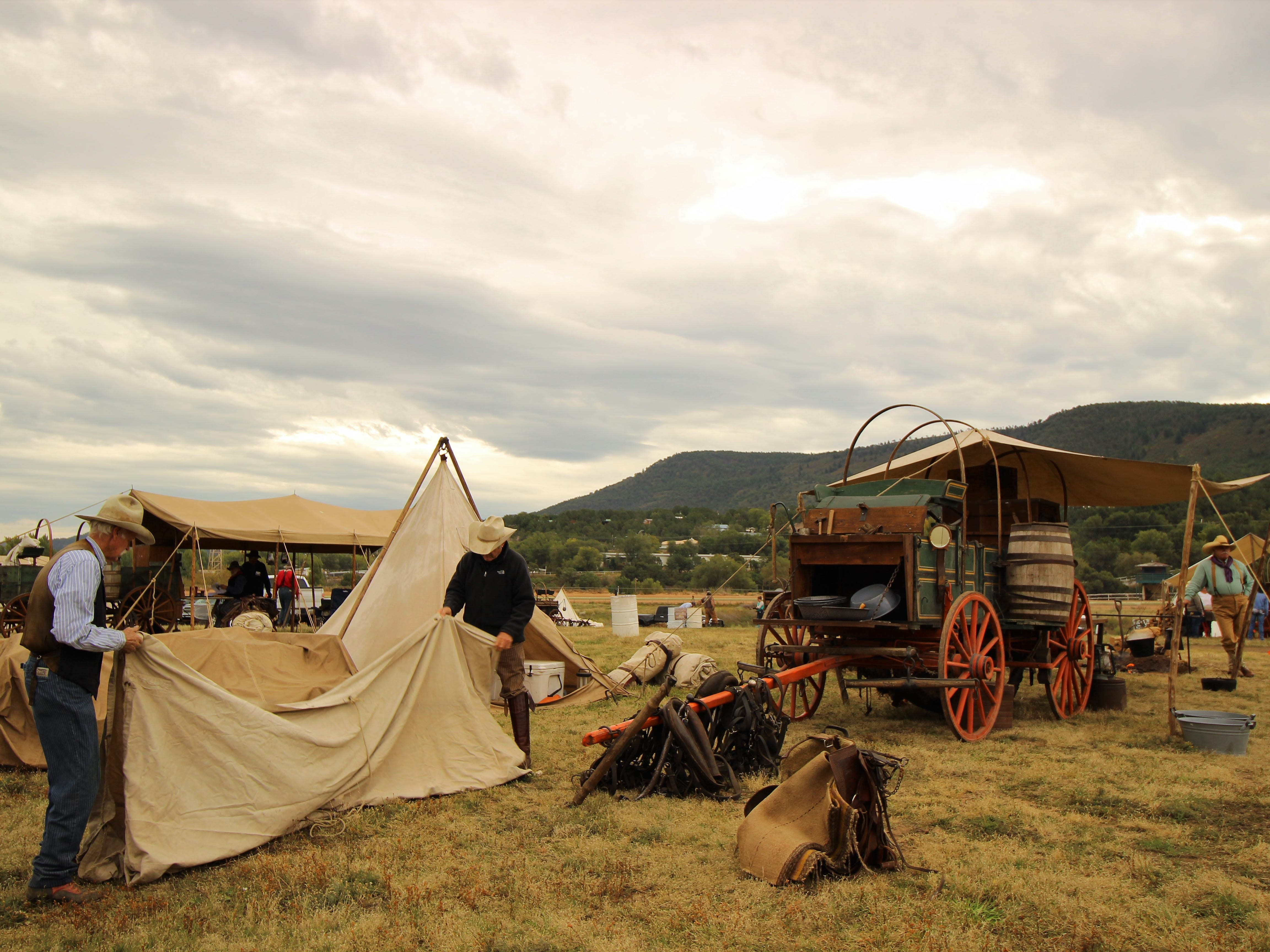Cowboys set up camp at the 2017 Lincoln County Cowboy Symposium under the vast New Mexico skies.