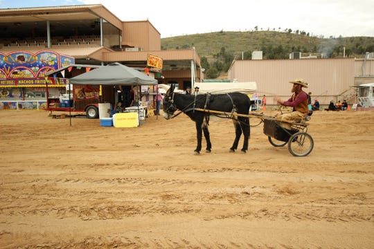 A mule drawn cart depicts how a mountain man was mobile many years ago.