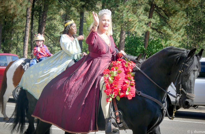 Glamorous ladies and their horses were in the parade.