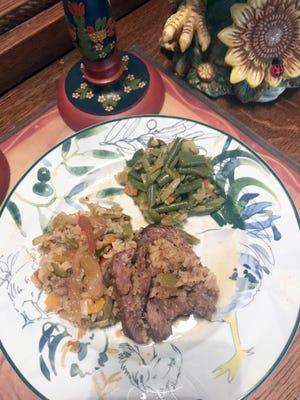 Rolled Round Steak stuffed with Mushroom Rice Dressing