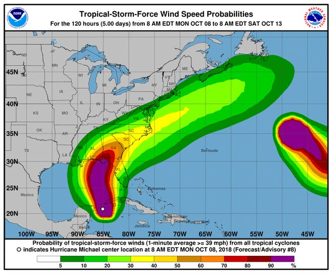 The probability of tropical-storm-force winds from Hurricane Michael