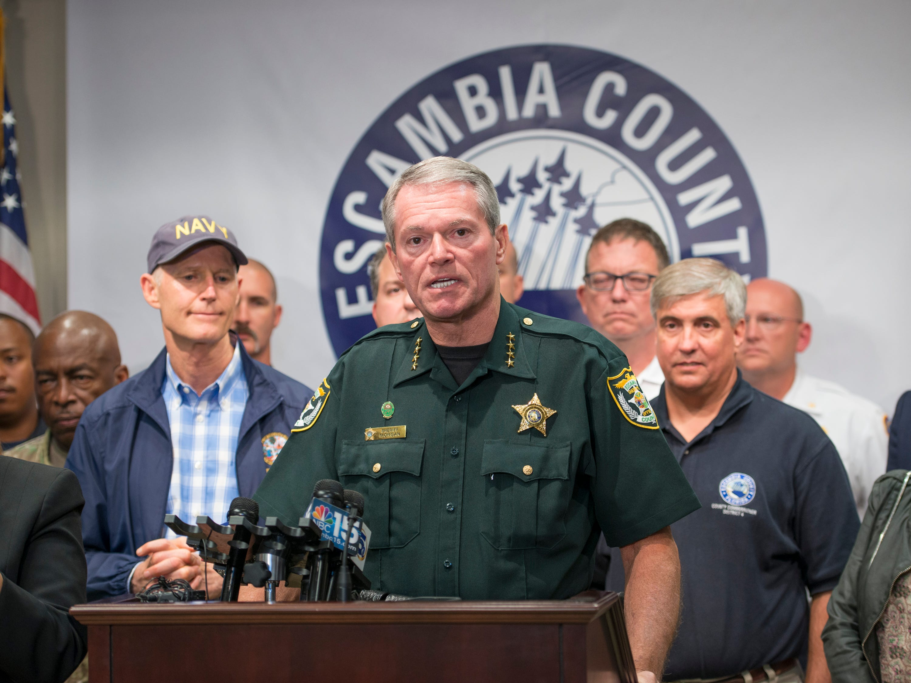 Escambia County Sheriff David Morgan talks about preparations for approaching Hurricane Michael during a press conference Escambia County Emergency Operations Center in Pensacola on Monday, October 8, 2018.