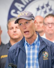 Governor Rick Scott talks about preparations for approaching Hurricane Michael during a press conference Escambia County Emergency Operations Center in Pensacola on Monday, October 8, 2018.