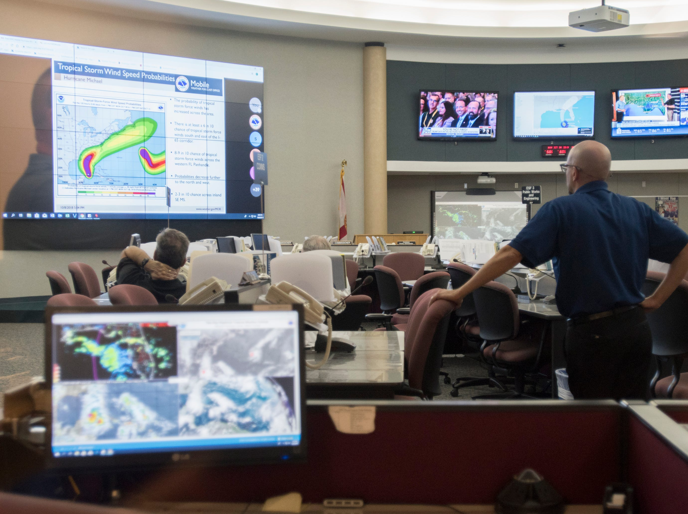 Preparations are underway at the Escambia County Emergency Operations Center in Pensacola as Hurricane Michael  approaches the Florida panhandle on Monday, October 8, 2018.