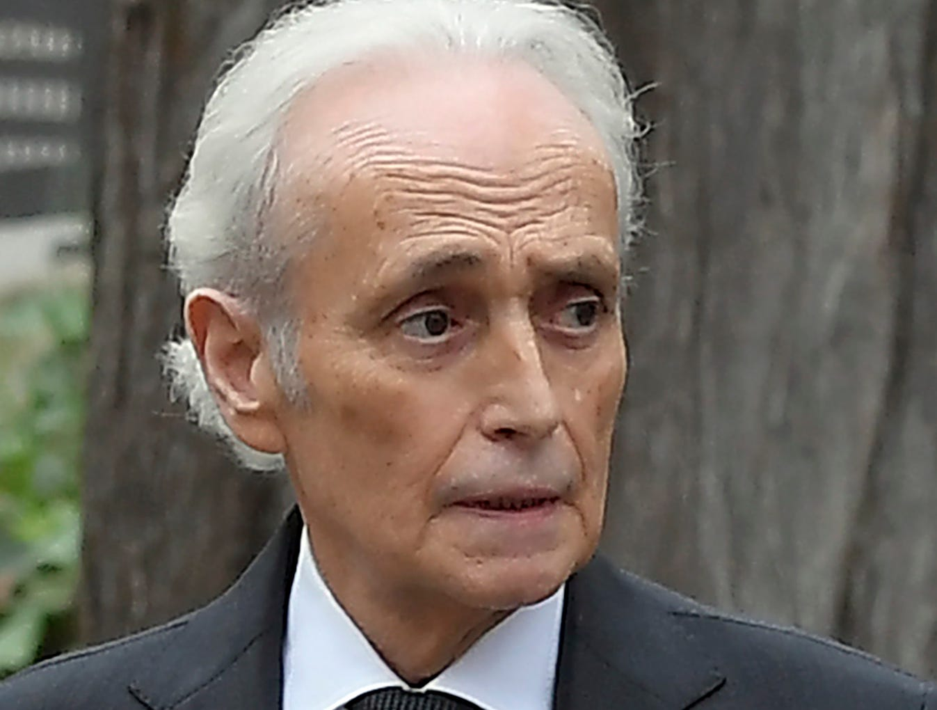 Tenor Jose Carreras arrives to attend the funeral for Spanish opera singer Montserrat Caballe in Barcelona on Oct. 8, 2018.