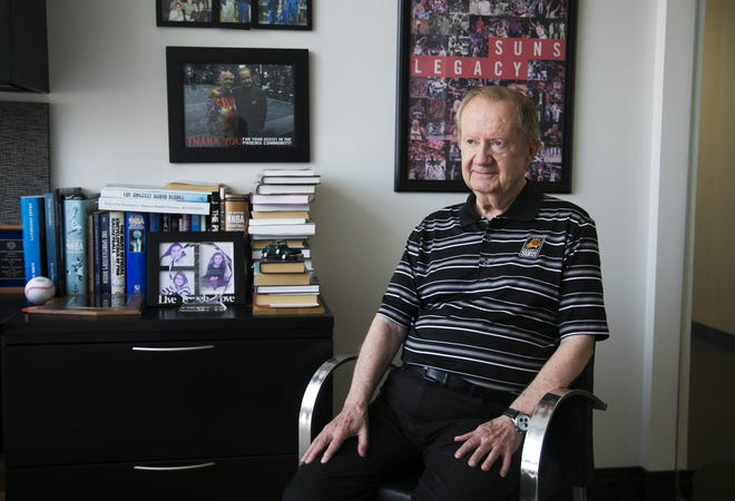 "Play-by-play announcer and ""The Voice of the Suns"" Al McCoy in his office at Talking Stick Resort Arena in Phoenix on Aug. 21."