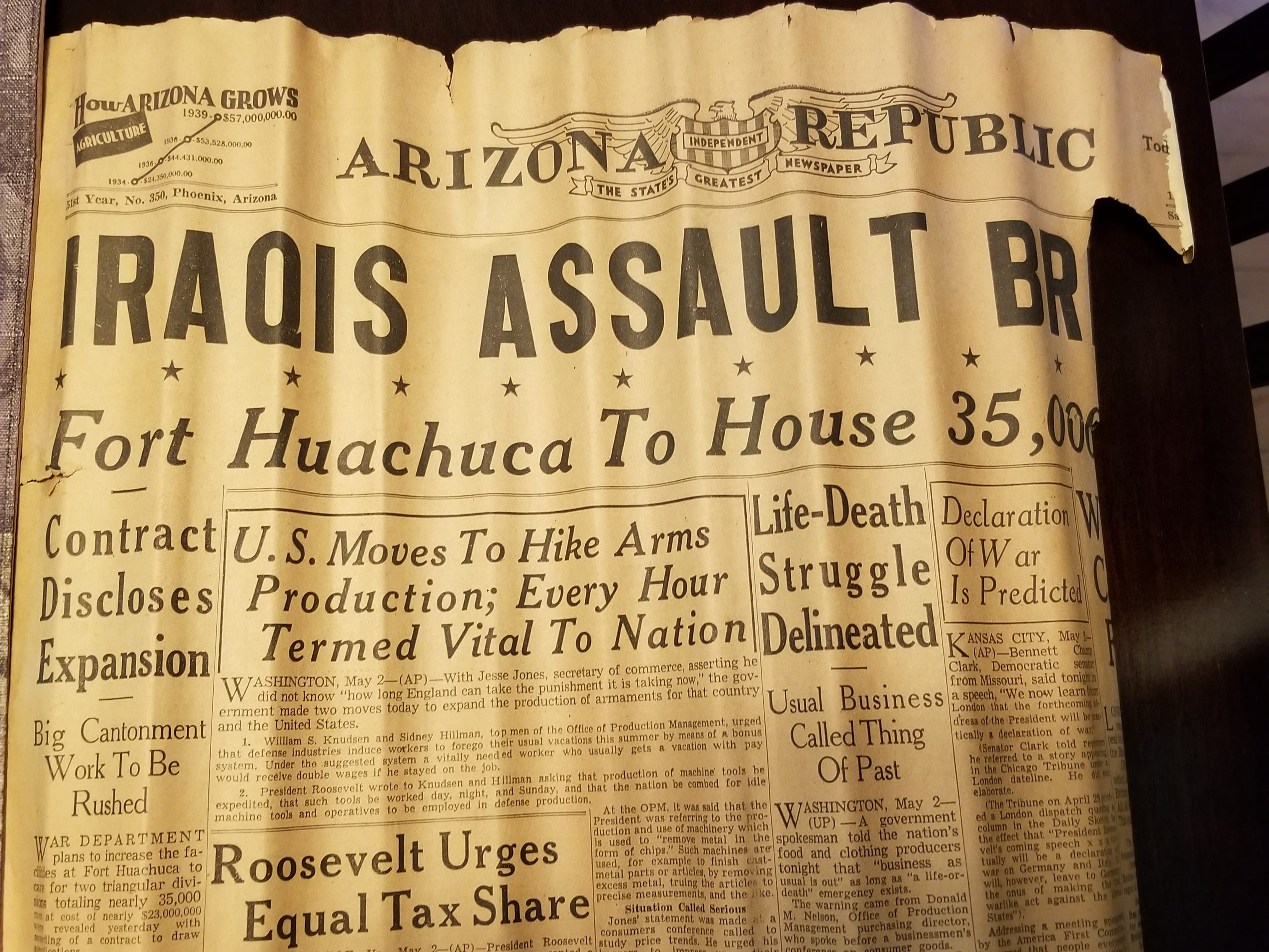 Insulation is scarce in the century-old home, and residents used what they could to fill wall and door jams. This weathered 1939 Arizona Republic was among them. It was retrieved from a door jamb during the renovation and saved by Bud Zomok.