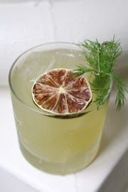 The No Big Dill made with Fortaleza blanco tequila, green chartreuse, gin, lime, demerara sugar and muddled dill.