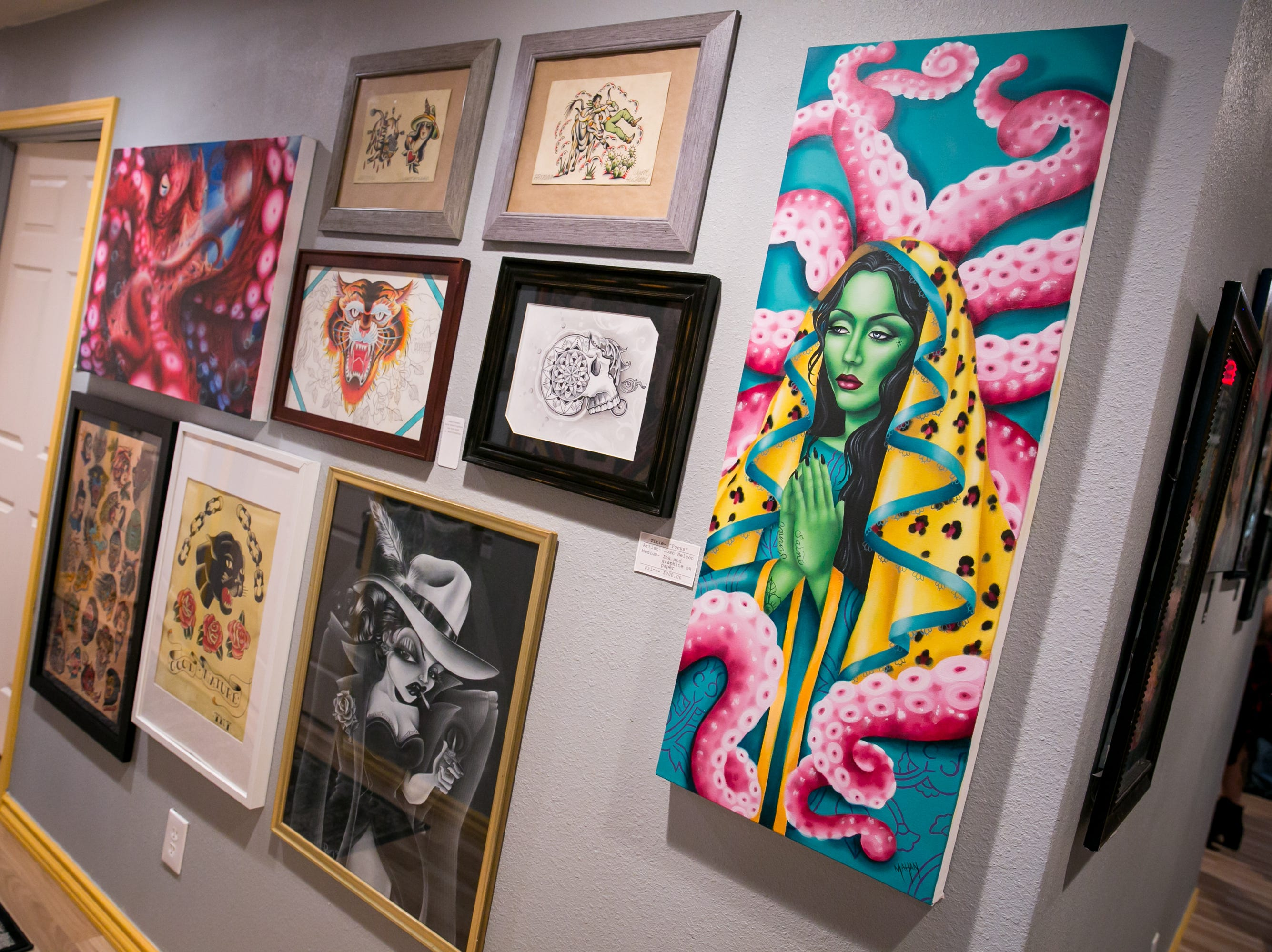 Tons of great work was featured at The Heart of Town tattoo art show at Lighten Up Laser during First Friday on October 5, 2018.