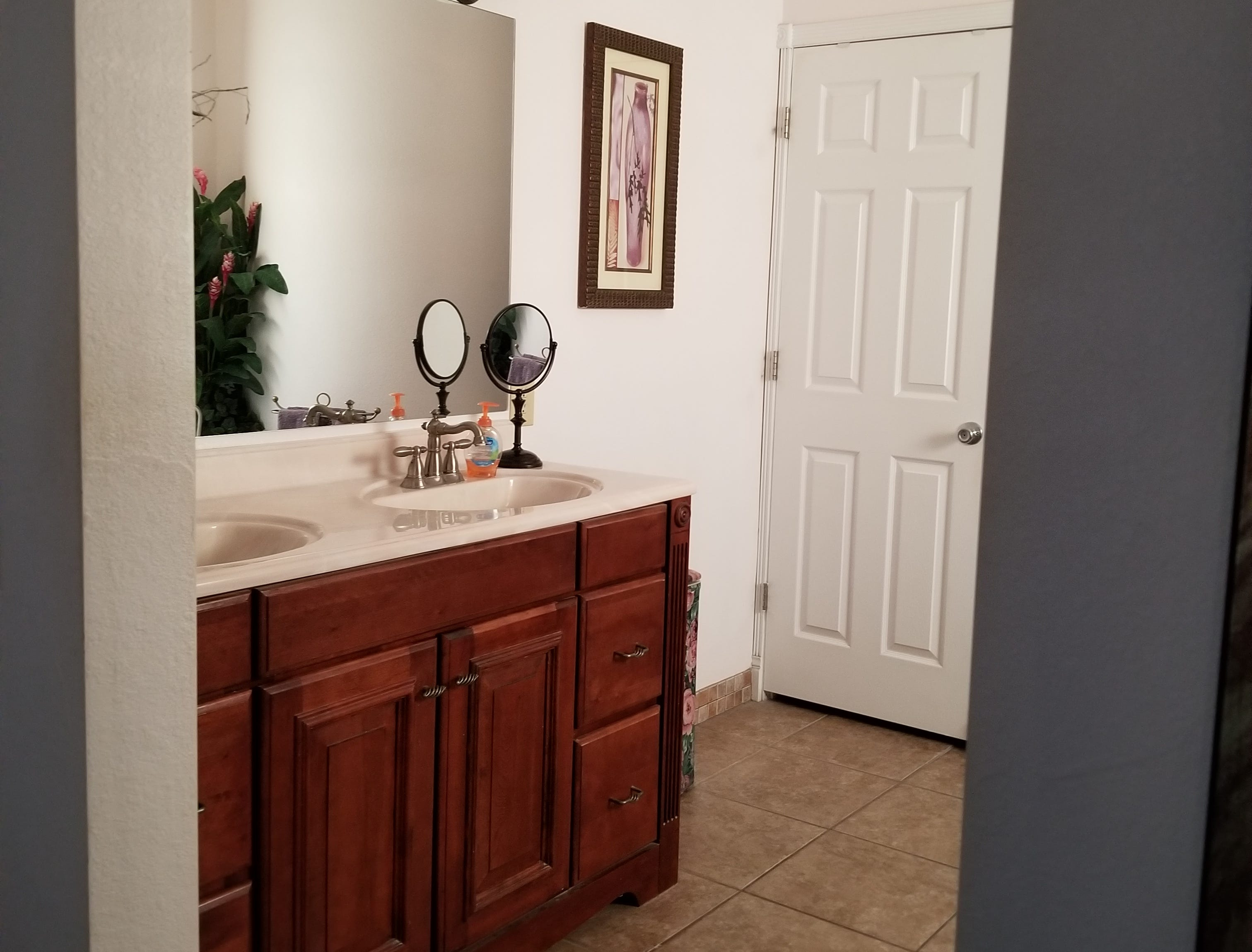 The bathroom in the master suite.