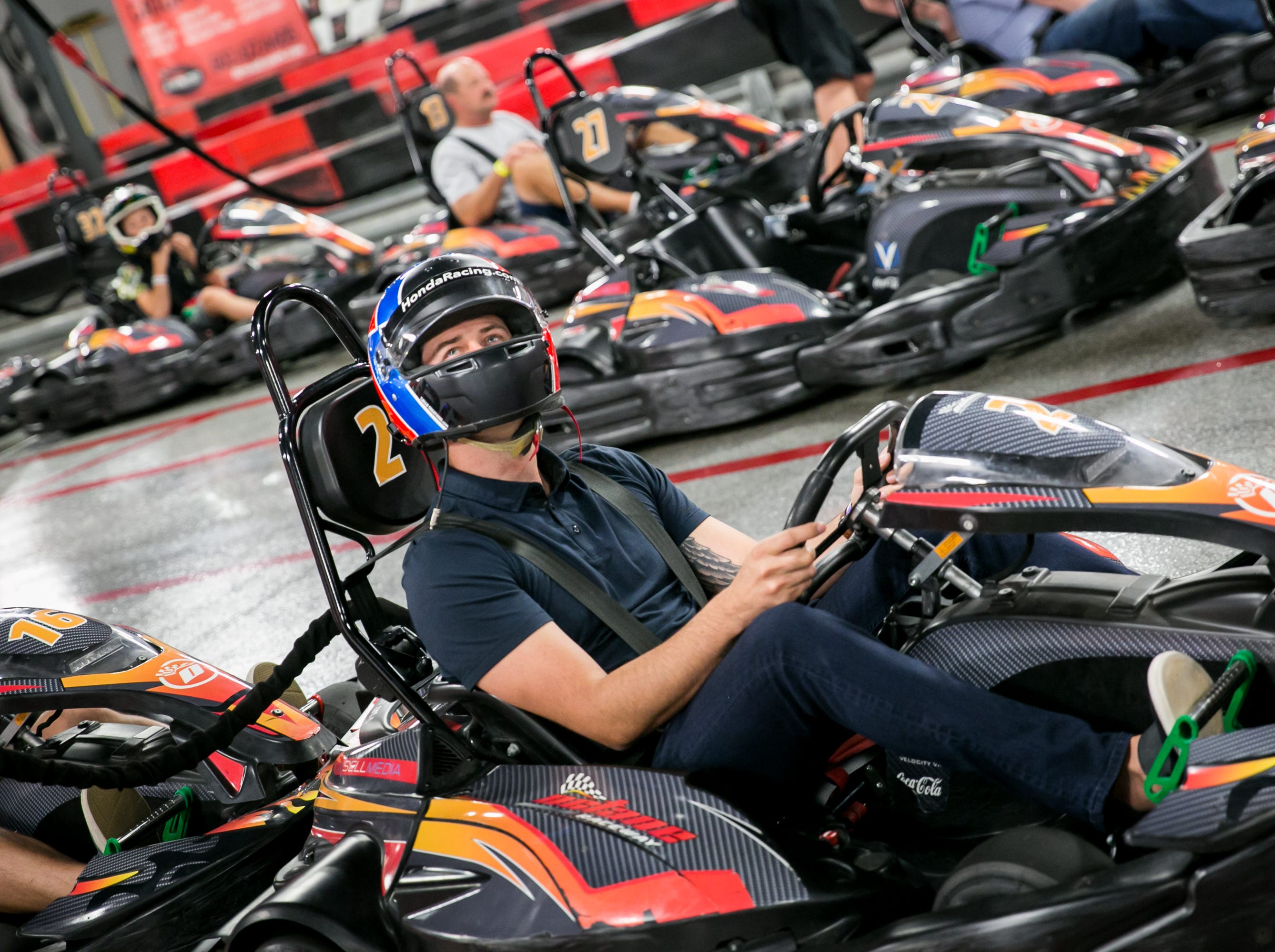 Arie Luyendyk Jr. gets ready to race during Octane Raceway's 15th Anniversary Party in Scottsdale on Saturday, October 6, 2018.