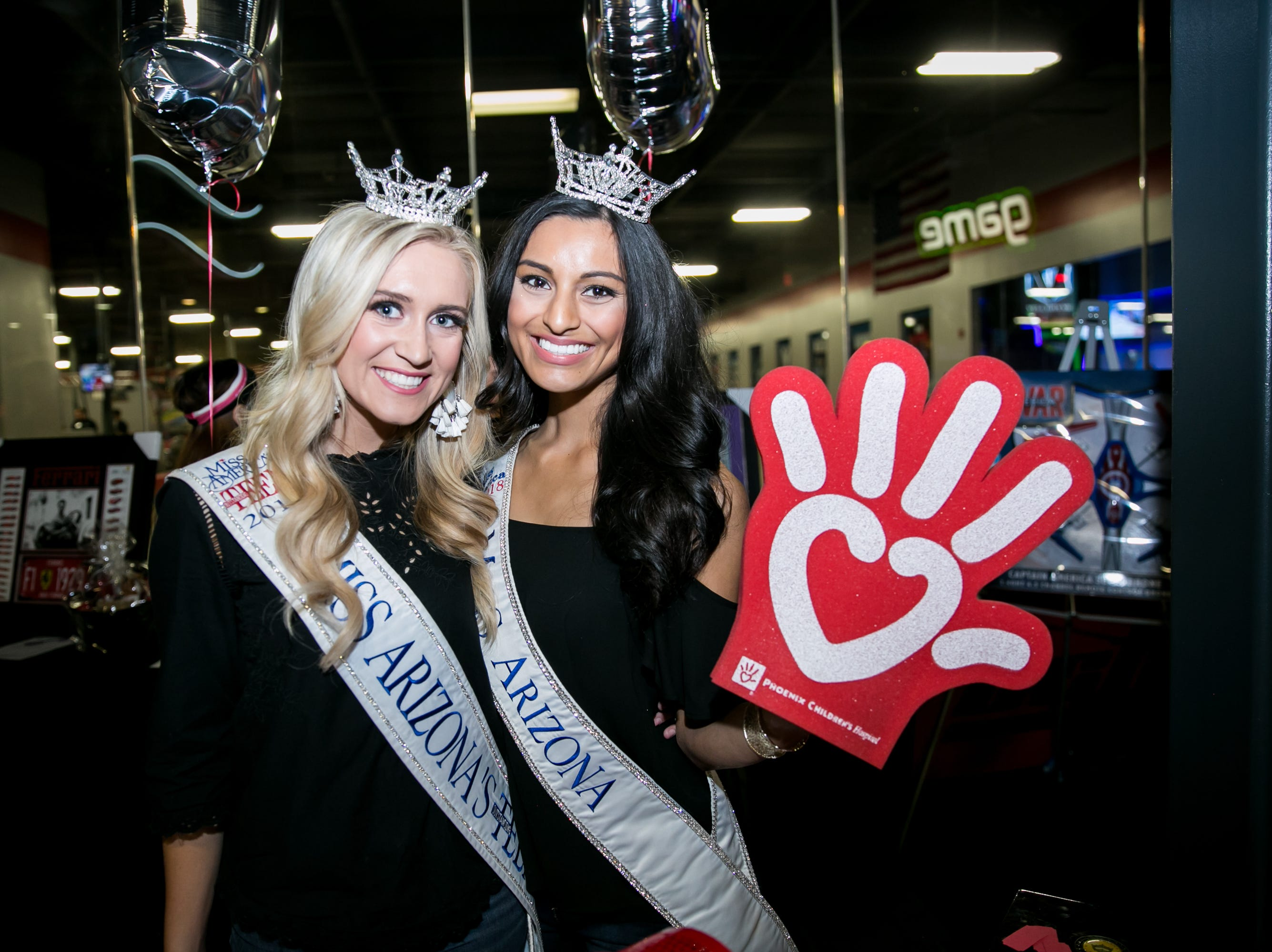 Miss Arizona's Teen and MIss Arizona showed some love for Phoenix Children's Hospital during Octane Raceway's 15th Anniversary Party in Scottsdale on Saturday, October 6, 2018.