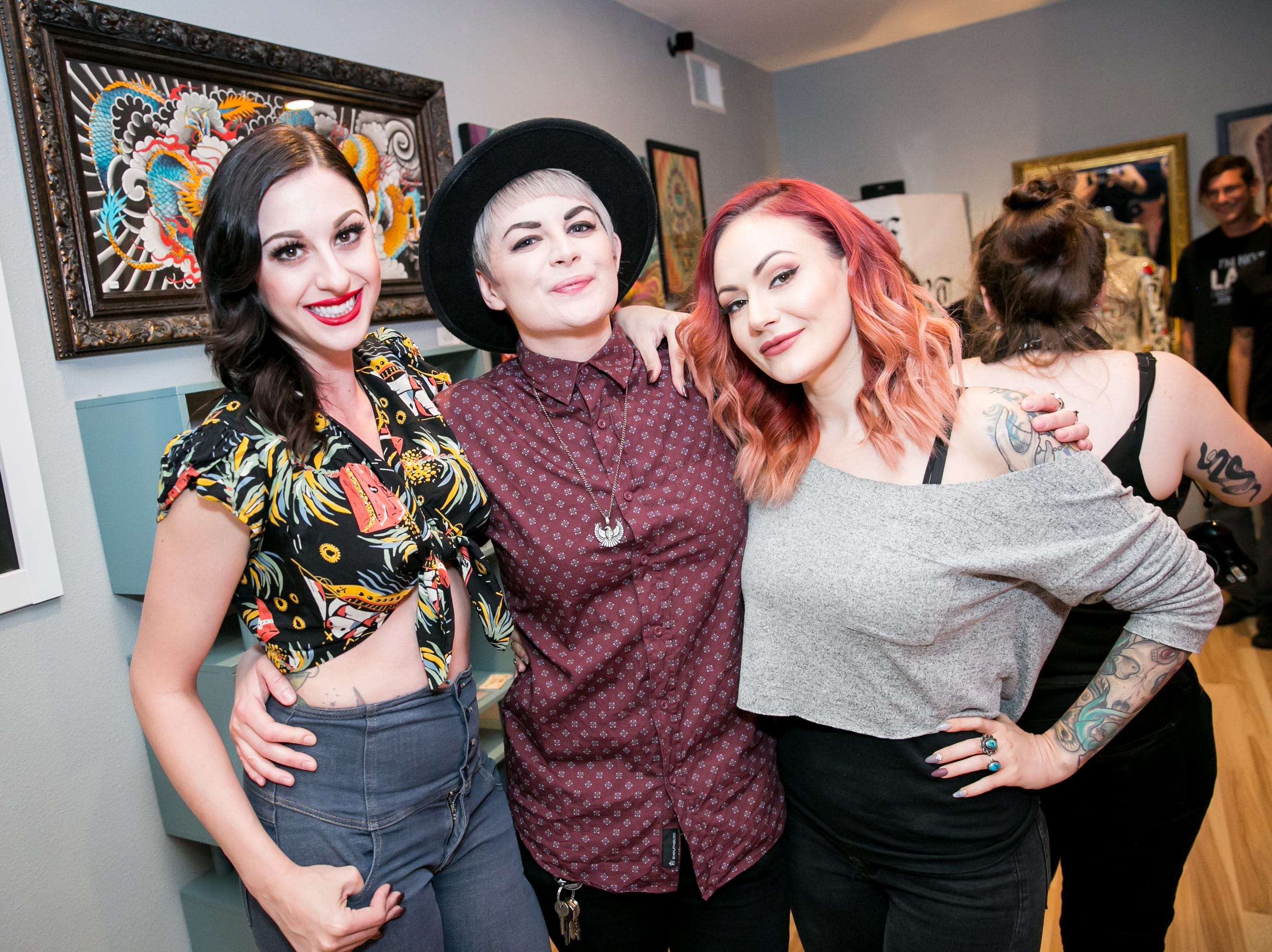 These pals looked fierce at The Heart of Town tattoo art show at Lighten Up Laser during First Friday on October 5, 2018.