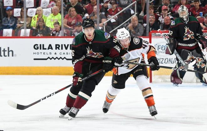 Coyotes defenseman Ilya Lyubushkin battles for position against an Anaheim Ducks defender in an NHL game at Gila River Arena on Oct. 6, 2018.