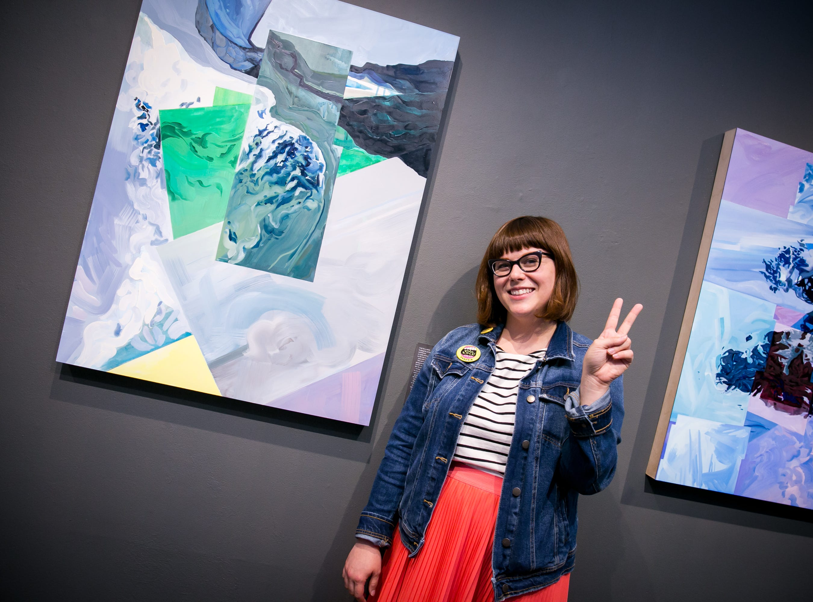 Tawny Kerr strikes a pose at her exhibition, Extrapolations, during First Friday on October 5, 2018.