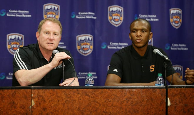 Phoenix Suns Partner Robert Sarver annouces James Jones, as the new Vice President of Basketball Operations Managing during a press conference on Wednesday, Jul 19, 2017 at Taking Stick Resort Arena in Phoenix, Ariz.