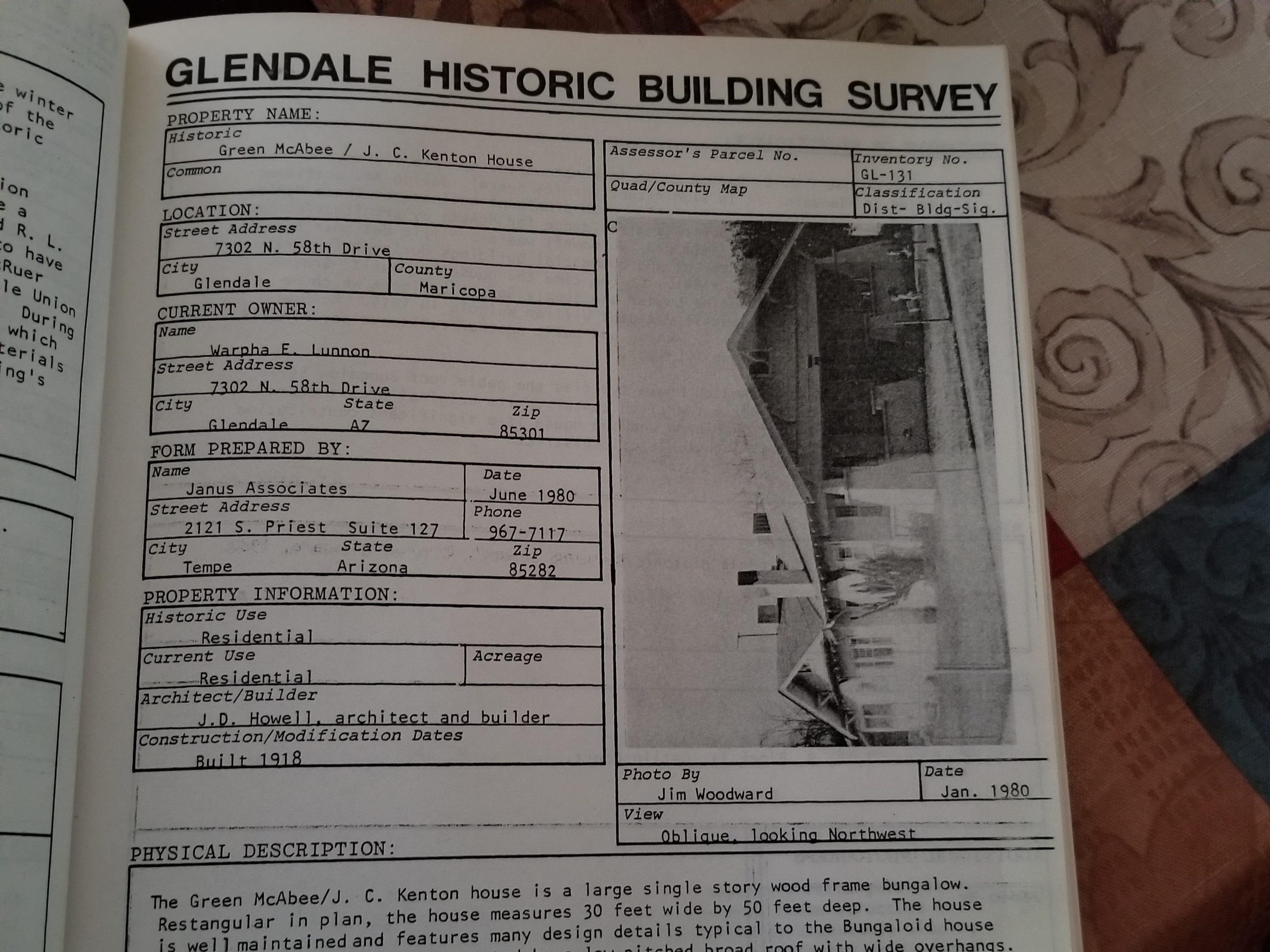 The Glendale Historic Building Survey circa 1980 describes the home Green-McAbee house.