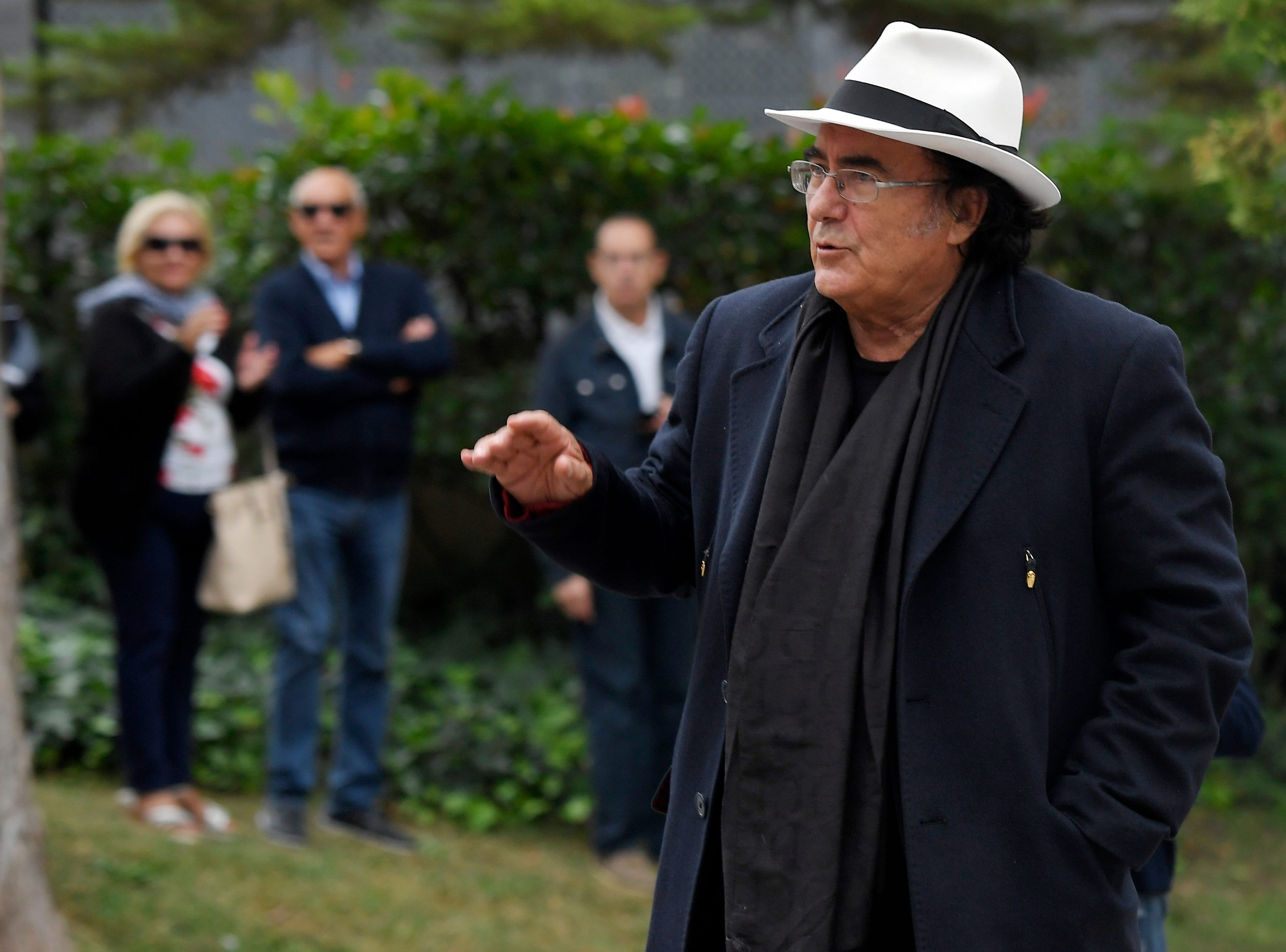 Italian recording artist, actor, and winemaker Albano Carrisi, better known as Al Bano, arrives to attend the funeral for Spanish opera singer Montserrat Caballe in Barcelona on Oct. 8, 2018.