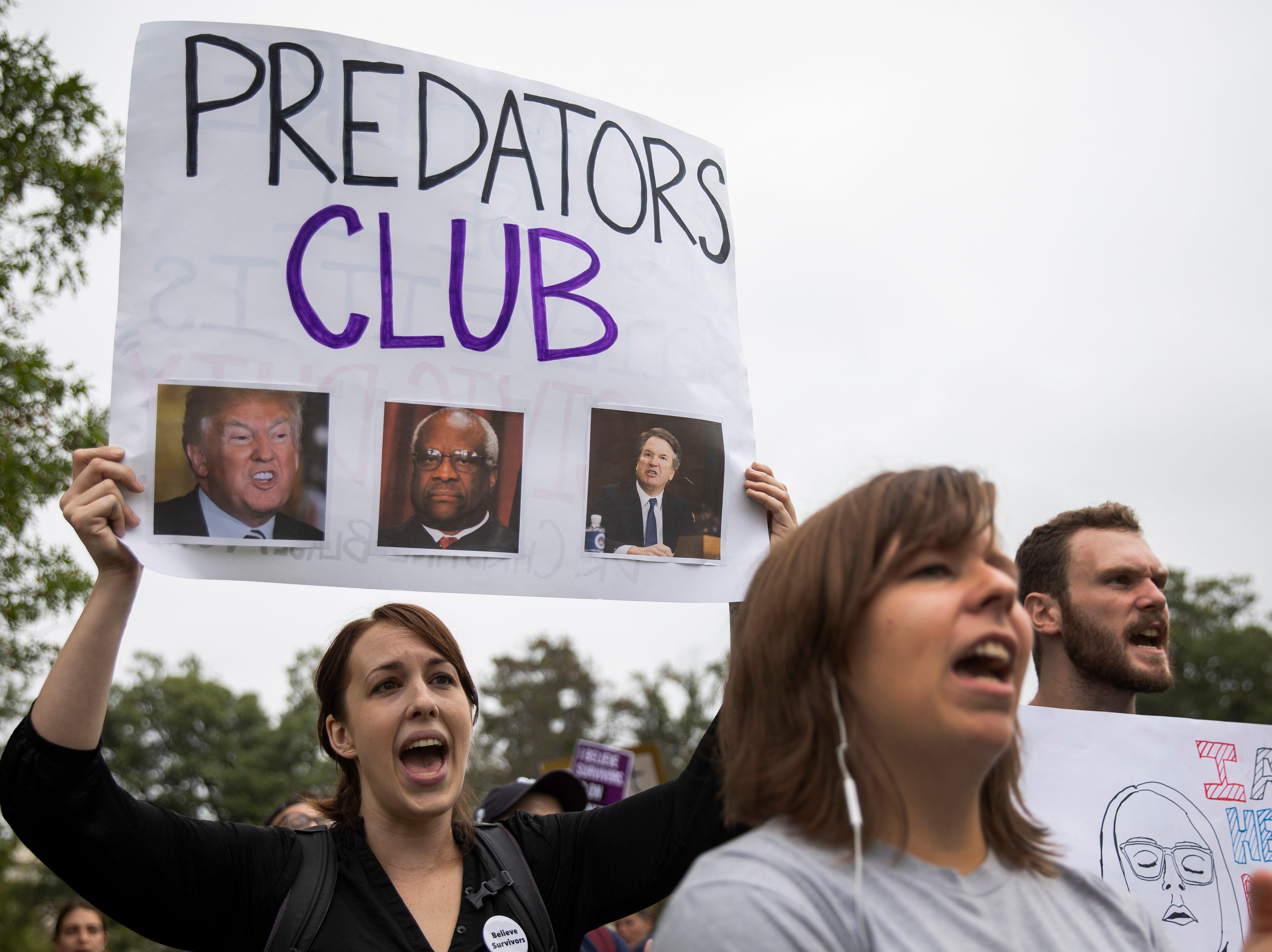 WASHINGTON, DC - OCTOBER 6: Protesters rally against the confirmation of Supreme Court nominee Judge Brett Kavanaugh, on Capitol Hill, October 6, 2018 in Washington, DC. The Senate is set to hold a final vote Saturday evening to confirm the nomination of Judge Brett Kavanaugh to the U.S. Supreme Court. (Photo by Drew Angerer/Getty Images)