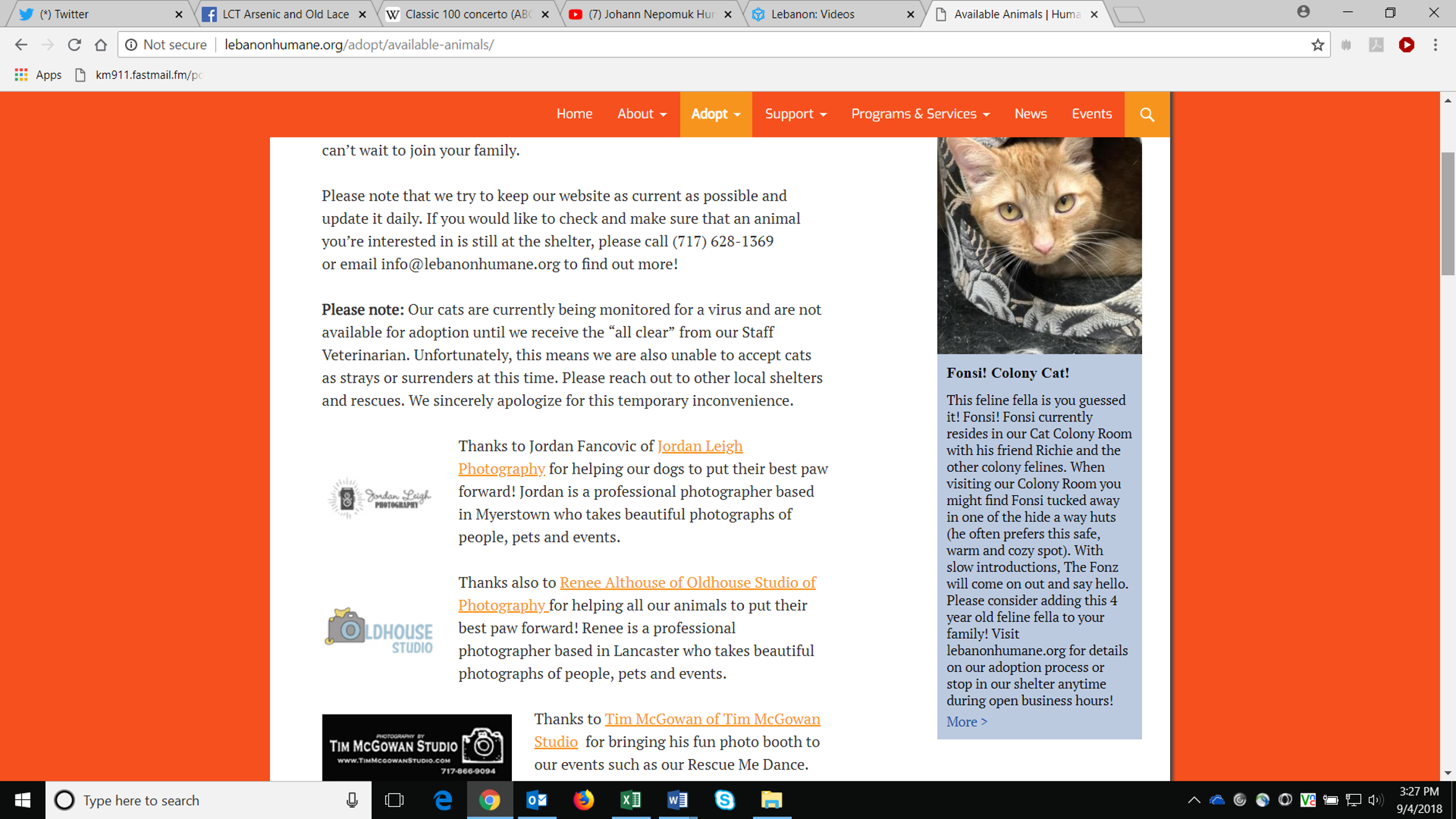 """This screen shot of the Humane Society of Lebanon County's website, taken in early September, informs the public that  cats were not available for adoption because of a """"virus."""" It does not specify that the shelter was battling an outbreak of pan leuk."""