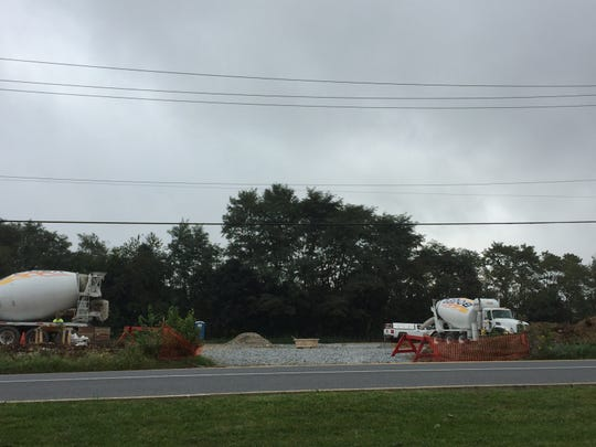 Development has begun on a Mavis Tire Center at the former lot that contained Cheyney Seafood in North Cornwall township.