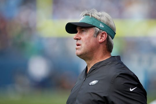 Philadelphia Eagles head coach Doug Pederson watch his team play the Tennessee Titans during an NFL football game Sunday, Sept. 30, 2018, in Nashville, Tenn. (Jeff Haynes/AP Images for Panini)